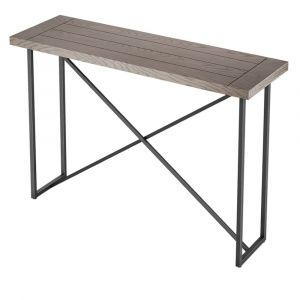 Furnitech - Signature Home - X Console Table in Coastal Grey Finish with Graphite Tubular Steel Base - FT48ICTCG