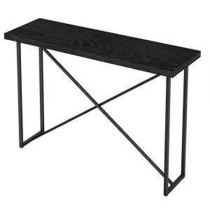 Furnitech - Signature Home - X Console Table in Ebony Oak with Graphite Tubular Steel Base - FT48ICTEB