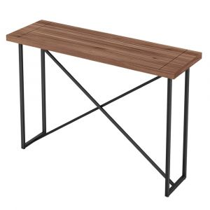 Furnitech - Signature Home - X Console Table in Walnut with Graphite Tubular Steel Base - FT48ICTW