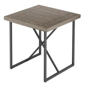 Furnitech - Signature Home - X End Table in Coastal Grey Finish with Graphite Tubular Steel Base - FT24IETCG