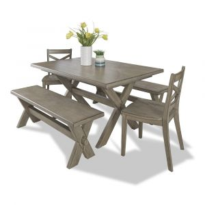 Homestyles - Mountain Lodge Gray 5 Piece Dining Set with benches - 5525-3128
