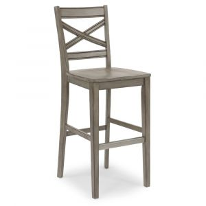 Homestyles - Mountain Lodge Gray Bar Stool with X back frame - 5525-88
