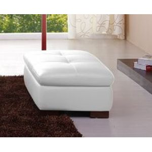 J&M Furniture - 625 Italian Leather Ottoman in White - 175443113331-OTT