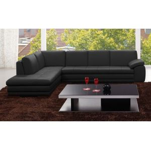 J&M Furniture - 625 Italian Leather Sectional Black in Left Hand Facing - 17544311331-LHFC-BK