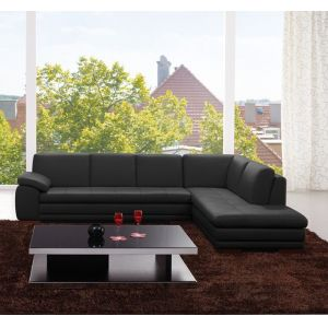 J&M Furniture - 625 Italian Leather Sectional Black in Right Hand Facing - 17544311331-RHFC-BK