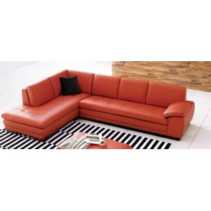 J&M Furniture - 625 Italian Leather Sectional Pumpkin in Left Hand Facing - 175443111-LHFC-PK