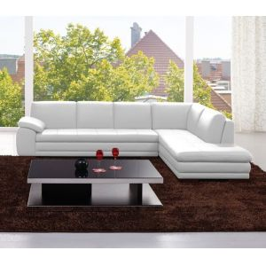 J&M Furniture - 625 Italian Leather Sectional White in Right Hand Facing - 175443113331-RHFC-W