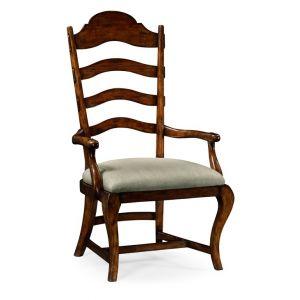 Jonathan Charles Fine Furniture - Artisan Rustic Walnut Dining Armchair Upholstered in Mazo - 495293-AC-RWL-F001