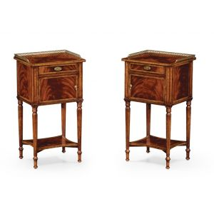Jonathan Charles Fine Furniture - Buckingham Pair of Mahogany Bedside Cabinets with Brass Gallery - 492822-MAH