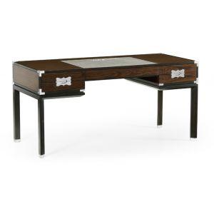 Jonathan Charles Fine Furniture - Campaign Style Dark Santos Rosewood Desk - 500184-SAD