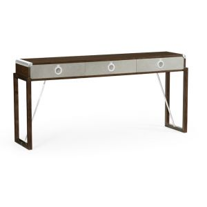 Jonathan Charles Fine Furniture - Campaign Style Dark Santos Rosewood and Grey Leather Console Table with Drawers - 500219-SAD