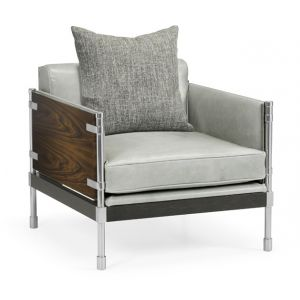 Jonathan Charles Fine Furniture - Campaign Style Dark Santos Rosewood Sofa Chair Upholstered in Grey Leather - 500247-30L-SAD-L013