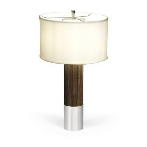 Jonathan Charles Fine Furniture - Campaign Circular Style Dark Santos Rosewood and White Stainless Steel Table Lamp - 500245-SAD