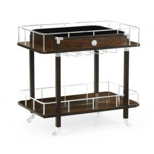 Jonathan Charles Fine Furniture - Campaign Rectangular Style Dark Santos Rosewood Rolling Bar Cart with Drawer - 500188-SAD