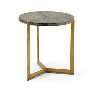 Jonathan Charles Fine Furniture - Geometric - Casual Transitional Circular Dark French Oak and Brass End Table - 500336-DFO
