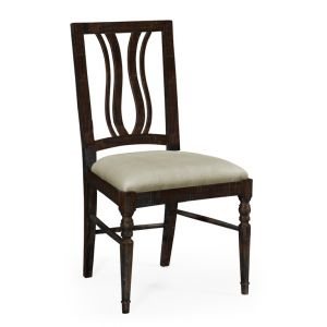 Jonathan Charles Fine Furniture - Casually Country Dark Ale Curved Back Dining Side Chair Upholstered in Mazo - 491102-SC-PDA-F001