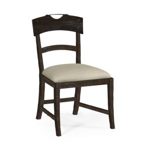 Jonathan Charles Fine Furniture - Casually Country Planked Dark Ale Dining Side Chair Upholstered in Mazo - 491076-SC-PDA-F001