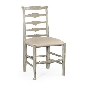 Jonathan Charles Fine Furniture - Casually Country Rustic Grey Ladder Back Side Chair Upholstered in Mazo - 491008-SC-RGA-F001