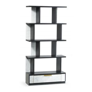 Jonathan Charles Fine Furniture - Fusion Contemporary Four-Tier Ebonised Oak and White Calcutta Marble Etagere with Bottom Drawer - 500223-ENO-M025