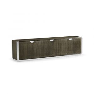 Jonathan Charles Fine Furniture - Gatsby - Contemporary Dark Grey Walnut and Stainless Steel Entertainment Unit - 500266-WGE