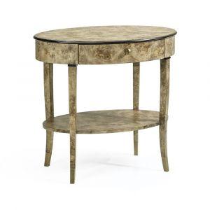 Jonathan Charles Fine Furniture - Hamilton - Oval Golden Amber Burr Bedside Table - 495998-BGA