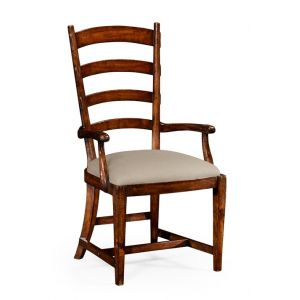 Jonathan Charles Fine Furniture - Huntingdon French Ladderback Style Carver Armchair Upholstered in Mazo - 494774-AC-WAL-F001