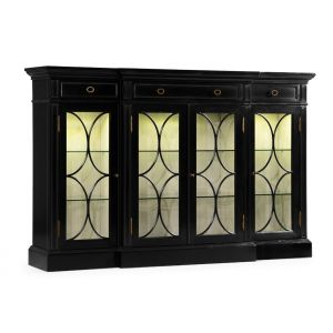 Jonathan Charles Fine Furniture - Kensington Four Door Breakfront Black Display Cabinet - 495144-BLA