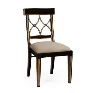 Jonathan Charles Fine Furniture - Kensington Regency Black Painted Curved Back Side Chair - 494347-SC-EBF-F001
