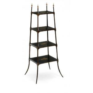 Jonathan Charles Fine Furniture - Kensington Regency Style Black Four-Tier Etagere - 492121-FBG