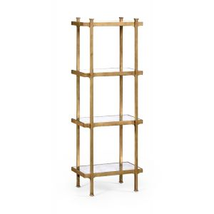 Jonathan Charles Fine Furniture - Luxe Eglomise and Gilded Iron Narrow Four-Tier Etagere - 494329-G