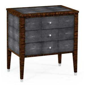 Jonathan Charles Fine Furniture - Metropolitan Faux Macassar Ebony and Anthracite Faux Shagreen Bedside Chest of Drawers - 494365-MAS