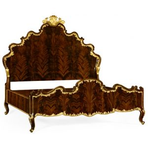Jonathan Charles Fine Furniture - Monte Carlo US King High Lustre Mahogany and Gilded Bed - 495505-USK-BMA