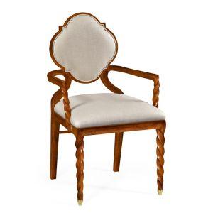 Jonathan Charles Fine Furniture - Twist Walnut Barleytwist Dining Armchair Upholstered in Mazo - 500050-AC-TWC-F001