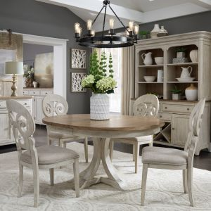 Liberty Furniture - Farmhouse Reimagined 5 Piece Pedestal Table Set - 652-DR-5PDS