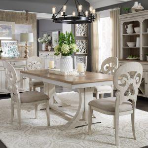 Liberty Furniture - Farmhouse Reimagined 5 Piece Trestle Table Set - 652-DR-5TRS