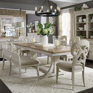 Liberty Furniture - Farmhouse Reimagined 6 Piece Trestle Table Set - 652-DR-6TRS