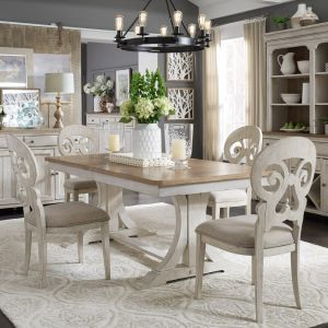 Liberty Furniture - Farmhouse Reimagined 7 Piece Trestle Table Set - 652-DR-7TRS