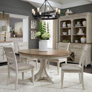 Liberty Furniture - Farmhouse Reimagined 5 Piece Pedestal Table Set - 652-DR-O5PDS