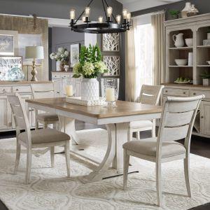 Liberty Furniture - Farmhouse Reimagined 5 Piece Trestle Table Set - 652-DR-O5TRS