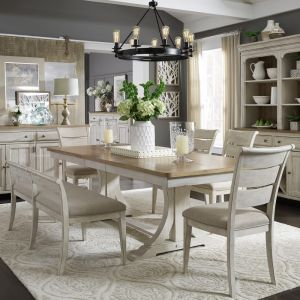Liberty Furniture - Farmhouse Reimagined 6 Piece Trestle Table Set - 652-DR-O6TRS