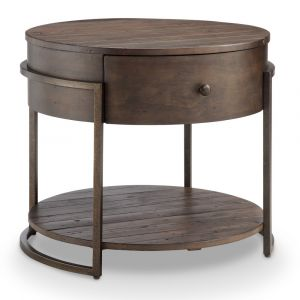 Magnussen - Kirkwood Rustic Dark Whiskey Reclaimed Wood Round Accent Table - T4291-05