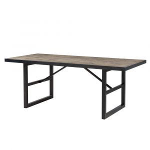 Modus Furniture - Drift Solid Wood and Steel Rectangular Dining Table in Trail - 9K4461M