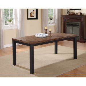 Modus Furniture - Gabe Solid Wood Rectangular Dining Table in Rustic Truffle and Gray Steel - 9KT361G