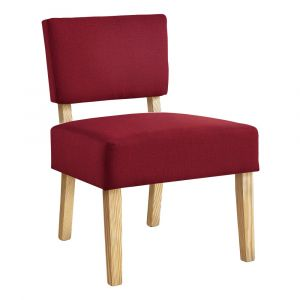 Monarch Specialties - Accent Chair Red Fabric Natural Wood Legs - I-8295
