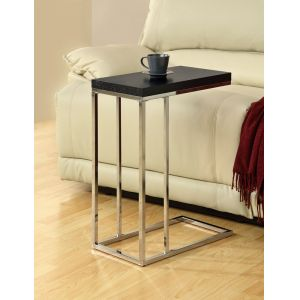 Monarch Specialties - Cappuccino Hollow-Core / Chrome Metal Accent Table - I 3007
