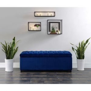 Picket House Furnishings - Carson Shoe Storage Bench in Navy Blue - UCD286700