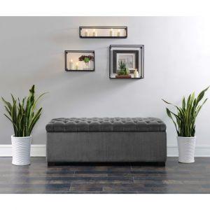 Picket House Furnishings - Carson Shoe Storage Bench in Slate - UCD288700