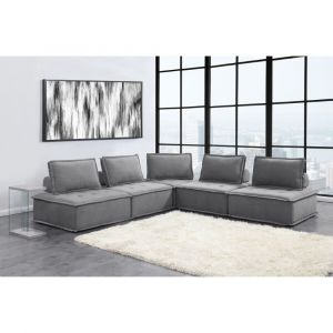 Picket House Furnishings Cube Modular Seating 5pc Sectional In Charcoal - UPX5265PC