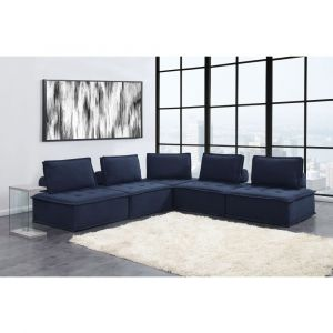 Picket House Furnishings Cube Modular Seating 5pc Sectional In Navy - UPX16715PC