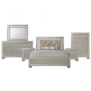 Picket House Furnishings Glamour Queen Panel 6pc Bedroom Set In Champagne - LT100QB6PC